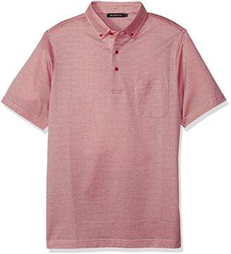 Bugatchi Men's Double Mercerized Short Sleeve Three Button Polo