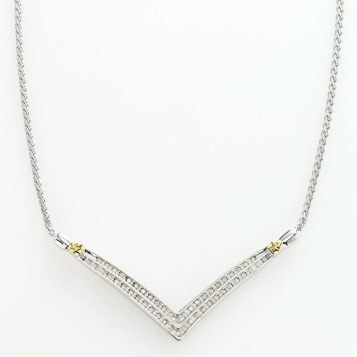 14k Gold Over Silver And Sterling Silver 1/4-Ct. T.w. Diamond Chevron Necklace