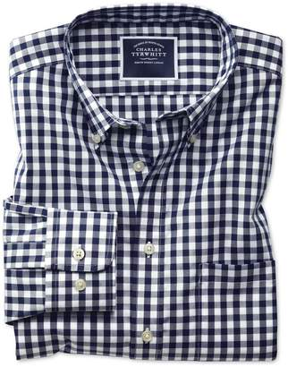 Charles Tyrwhitt Classic Fit Non-Iron Navy Gingham Poplin Cotton Casual Shirt Single Cuff Size Large