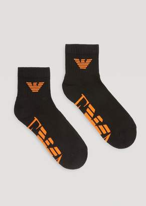Emporio Armani Set Of 2 Pairs Of Socks With Ribbed Trim And Embroidered Contrasting Logo