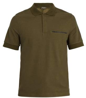 Berluti - Leather Trimmed Cotton And Silk Blend Polo Shirt - Mens - Green