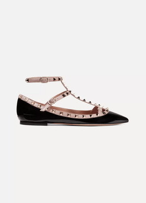 Valentino Garavani The Rockstud Patent-leather Point-toe Flats - Black