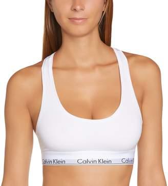 Calvin Klein Underwear - Triangle - Soutien-Gorge de Tous les Jours - Uni - Femme - Blanc (White) - FR: 38 (Taille Fabricant: M)