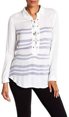Vintage Havana Stripe Lace Up Long Sleeve Shirt