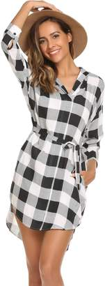 Meaneor Women's 3/4 Sleeve Plaid Belted Casual Swing Shirt Dress with Pockets