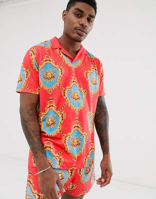 Asos Design DESIGN co-ord relaxed revere polo with all over baroque print