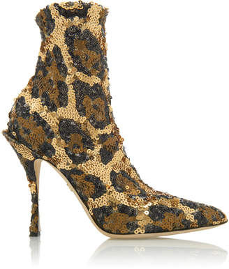 Dolce & Gabbana Sequined Leopard-Print Ankle Boots