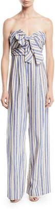 Johanna Ortiz Honolulu Bow-Top Striped Linen-Cotton Wide-Leg Jumpsuit