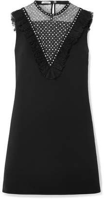 Miu Miu Embellished Tulle-paneled Crepe Mini Dress - Black