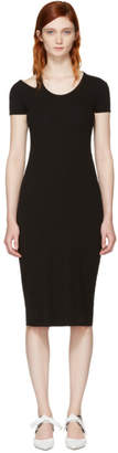 Helmut Lang Black Cap Sleeve Rib T-Shirt Dress