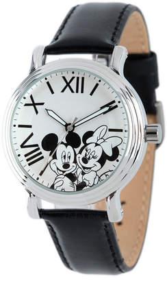 EWatchFactory Disney Mickey Mouse & Minnie Mouse Women Shiny Silver Vintage Alloy Watch