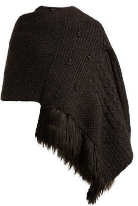 Simone Rocha Patchwork Knit Wool Blend Scarf Cardigan - Womens - Dark Grey