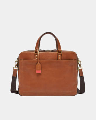 Fossil Defender Cognac Double Zip Work Bag