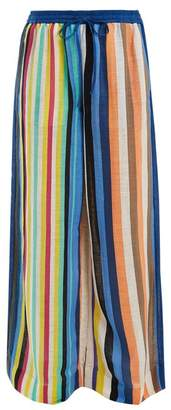 Diane von Furstenberg Wide Leg Striped Linen Trousers - Womens - Blue Multi