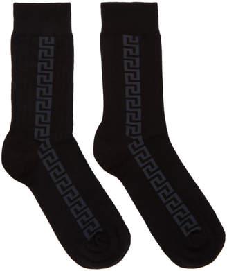 Versace Black and Grey Greek Socks