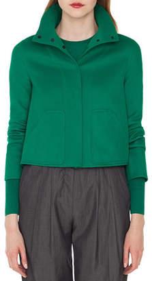 Akris Rachel Button-Front Cashmere Jacket with Back Pleat