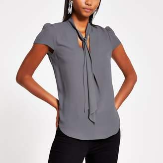 River Island Womens Grey tie neck short sleeve blouse