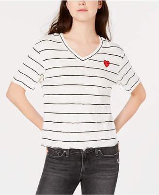 Rebellious One Juniors' Heart Patch Striped T-Shirt