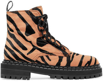 Tiger-print Calf Hair Ankle Boots - Beige