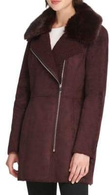 Donna Karan Faux Fur-Accented Faux Suede Coat