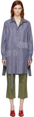 Loewe Blue Oversized Striped Strap Shirt