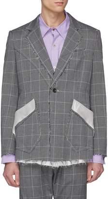 Sulvam Raw edge houndstooth check plaid soft blazer