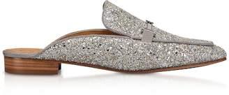 Tory Burch Amelia Glitter Silver Mules