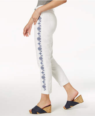 Style&Co. Style & Co Embroidered Slim Boyfriend Jeans, Created for Macy's