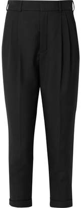 Saint Laurent Cropped Pleated Wool-gabardine Pants - Black