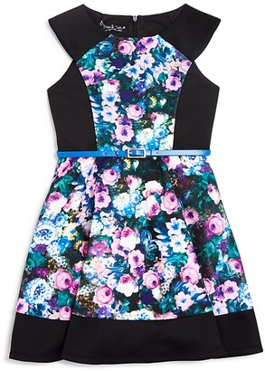 Pippa & Julie Girls' Floral & Solid Neoprene Dress - Sizes 7-14 $74 thestylecure.com
