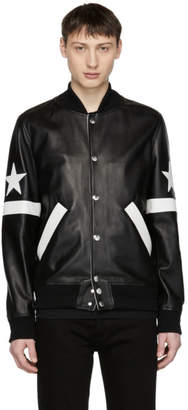 Givenchy Black Leather Star and Stripe Bomber Jacket