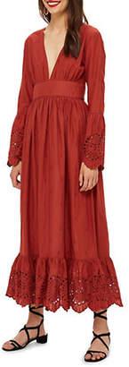 Topshop Embroidered Plunge Midi Dot Dress