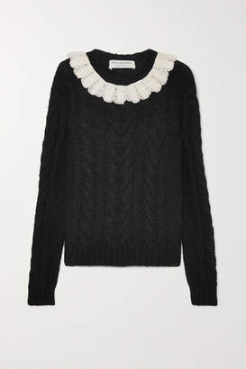 Philosophy di Lorenzo Serafini Crocheted Lace-trimmed Cable-knit Sweater - Black