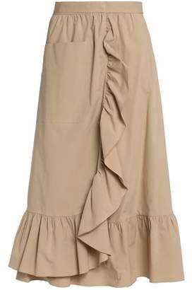Moschino Wrap-Effect Ruffled Cotton-Blend Poplin Midi Skirt