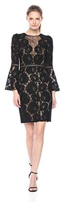 Tadashi Shoji Women's Floral Lace Gown with Illusion, Black/Nude