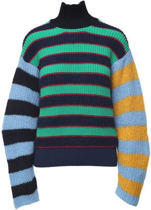 Kenzo Striped Wool And Mohair-blend Turtleneck Sweater