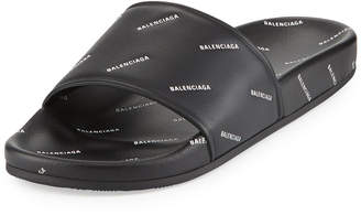 Balenciaga Allover Logo-Stamped Pool Slide Sandal