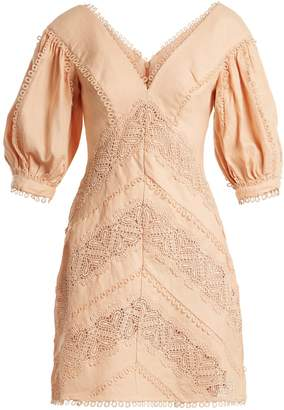 Zimmermann Painted Heart lace-panel linen dress