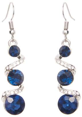 Quiz Navy And Silver Drop Earrings