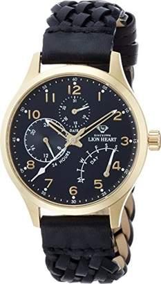 Lion Heart (ライオン ハート) - [ライオンハート]Lion Heart 腕時計 W105 ステンレススチール ブラック編み込みレザー ブラック文字盤 マルチファンクション クォーツ 日常生活防水 LHW105BKBK 腕時計