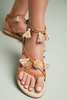 Soludos x Anthropologie Panarea Leather Tasseled Sandals
