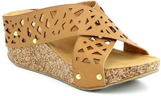 Tan Crisscross Elva Wedge Sandal $45 thestylecure.com