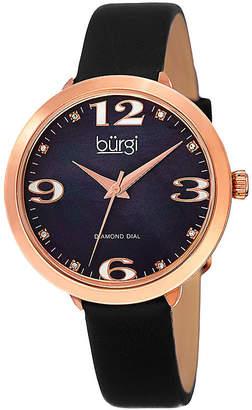 Burgi Womens Black Diamond Accent Strap Watch