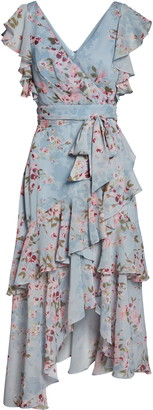 Ever New Floral Tiered Ruffle Faux Wrap Asymmetrical Dress