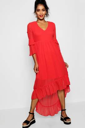 boohoo Ruffle Asymmetric Midi Tea Dress