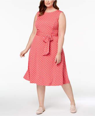 Charter Club Plus Size Dot-Print Midi Dress