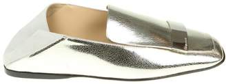 Sergio Rossi Loafers In Silver Leather With Metal Plate