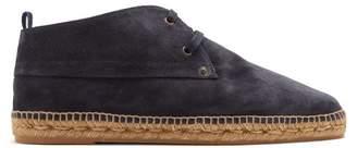 Castañer - Suede Lace Up Espadrille Desert Boots - Mens - Navy
