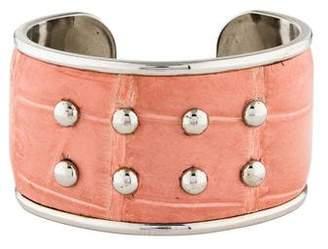 Tod's Studded Crocodile Leather Cuff