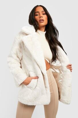 boohoo Petite Oversized Collar Luxe Faux Fur Coat